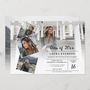 Modern white and black minimalist photo graduation invitation