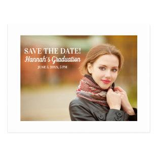Modern White Graduation Save Date Landscape Photo Postcard
