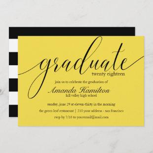 Modern Yellow  typography Graduation Invitation