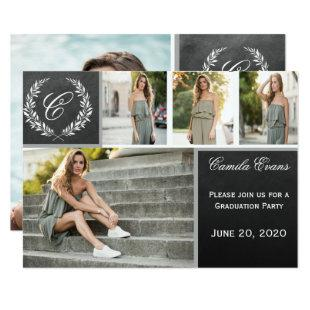 Monogram Chalkboard Graduation Party Invitation