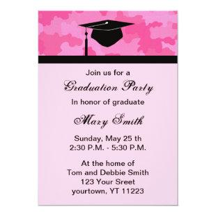 Monogram Pink Camouflage Graduation Party Invite