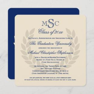 Monogram Square Classic Blue College Graduation Invitation