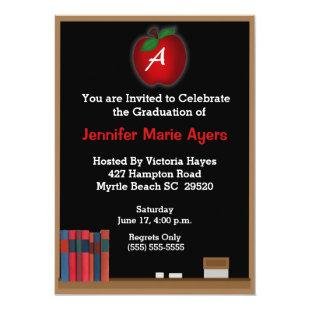 Monogrammed Chalkboard Teacher Graduation  Invite