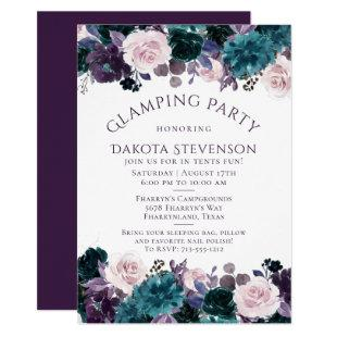 Moody Boho   Eggplant Purple Floral Glamping Party Invitation