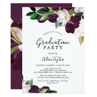 Moody Purple Blooms Graduation Party Invitation