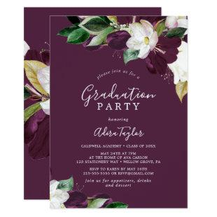 Moody Purple Blooms | Plum Graduation Party Invitation