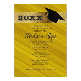 Mustard Yellow with Gold and Graduation Cap Party Invitation