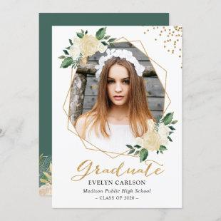 Nature Green Gold Floral Photo Graduation Party Invitation