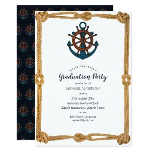 Nautical Navy Blue Anchor Graduation Party Invites