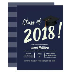 Nautical Navy Blue Graduation Party Invitation