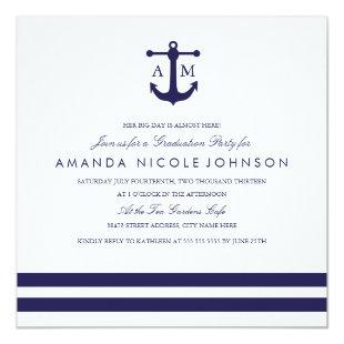 Nautical Navy Graduation Party Invite