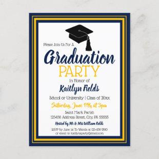 Navy and Gold School Colors Grad Party Invitation Postcard