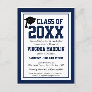 Navy and White Class Year Graduation Invitation Postcard