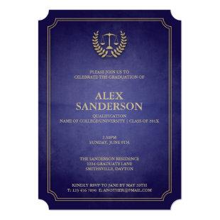 Navy Blue and Gold Law School Graduation Invitation