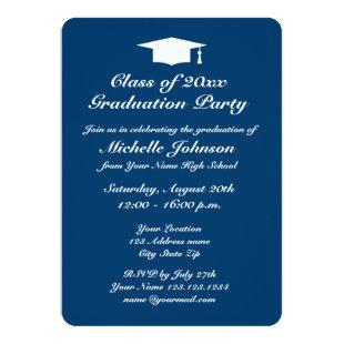 Navy blue and white graduation party invitations