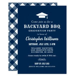 Navy Blue Backyard BBQ Graduation Party Invitation