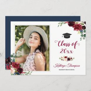 Navy Blue Burgundy Red Floral Photo Graduation Invitation