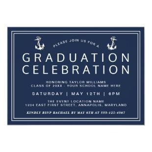 Navy Blue Classic Nautical Graduation Invitation