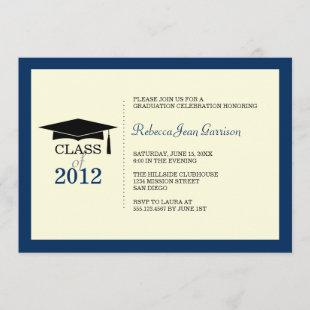 Navy blue ecru cap tassel graduation announcement
