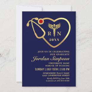 Navy Blue Gold Glitters Nursing School Graduation Invitation