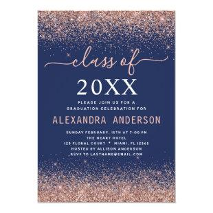 Navy Blue Graduation Party Pink Rose Gold Glitter Invitation