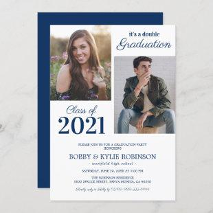 Navy Blue Joint Graduation Party Invitation