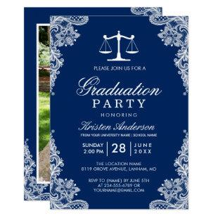 Navy Blue Lace Law School Student Graduation Photo Invitation