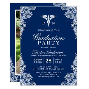 Navy Blue Lace Nursing School Graduation Party Invitation