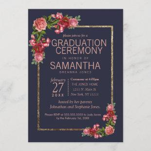 Navy Blue Pink Floral Gold Graduation Ceremony Invitation