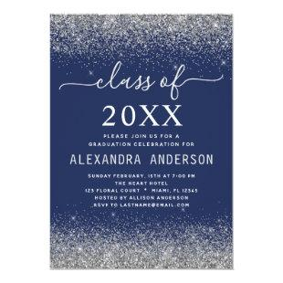 Navy Blue Silver Graduation Party Class of 2020 Invitation