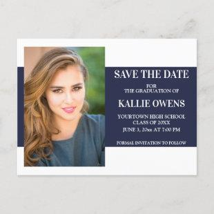 Navy Blue White Graduation Save the Date Announcement Postcard