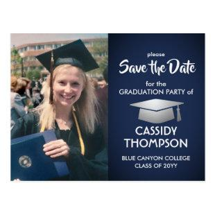 Navy Blue White Photo Graduation Save the Date Postcard