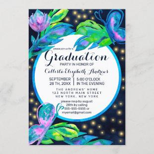 Navy Butterfly Floral Leaves Watercolor Graduation Invitation