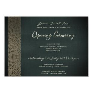 NAVY COPPER MOSAIC DOTS GRAND OPENING CEREMONY INVITATION