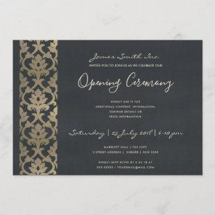 NAVY FAUX SILVER DAMASK GRAND OPENING CEREMONY INVITATION