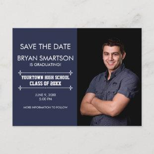 Navy Personalized Photo Graduation Save the Date Postcard