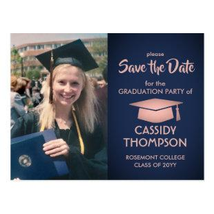 Navy Pink Rose Gold Photo Graduation Save the Date Postcard
