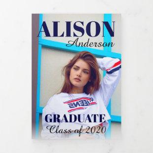 Navy typography Class of 2020 graduation photo Tri-Fold Announcement