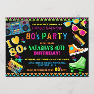 Neon 80's Birthday Party Invitation