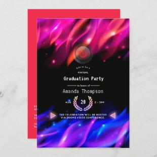 Neon Glow Flames Virtual Graduation Party Invitation