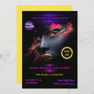 Neon Glow Graduation Party Invitation