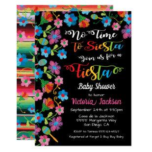 No time to siesta Mexican fiesta embroidery Invitation