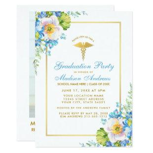 Nurse Blue Floral Grad Party Invite B - Photo Back