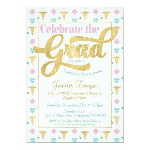 Nurse Doctor Graduation Invitation Pink LPN RN