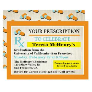 Nurse Doctor Medical Graduation Prescription label Invitation