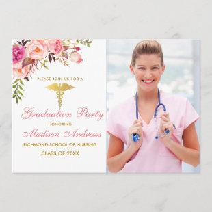 Nurse Floral Pink Grad Party Invite Gold