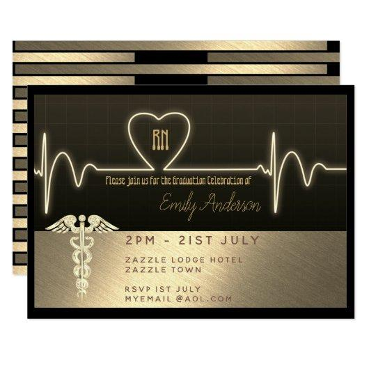 Nurse Graduate Invitation - Black Gold Metallic