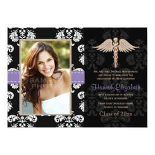 Nurse Graduation Announcements Invitations Purple