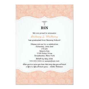 Nurse graduation coral damask BSN RN LPN CNA etc Invitation