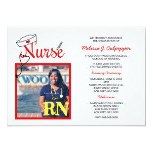 Nurse photo graduation pinning celebration / red invitation